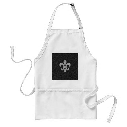 fleur-de-lis on black and white glittery effect apron