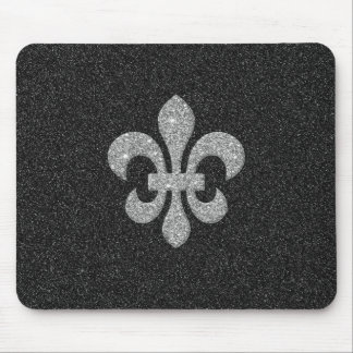 fleur-de-lis on black and white glittery effect mouse pad