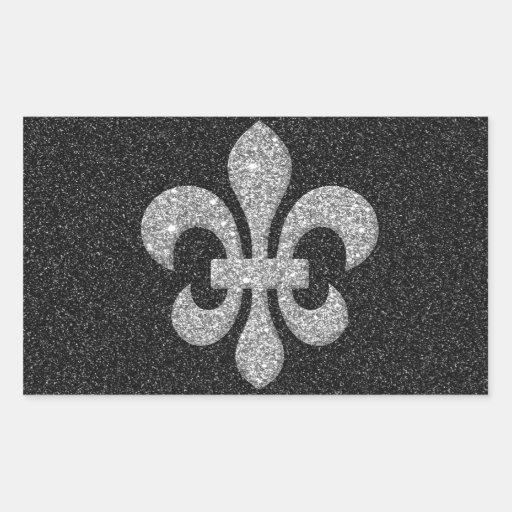 fleur-de-lis on black white glittery effect rectangular sticker