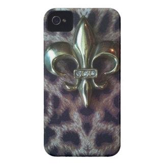 Fleur de lis on leopard iphone case