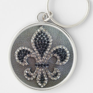 Fleur de lis on pewter leather print keychain