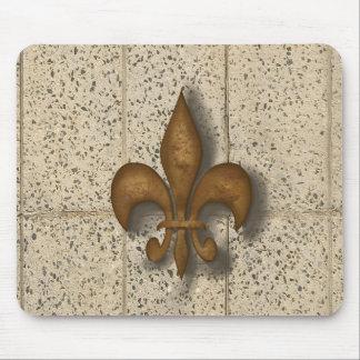 Fleur de Lis on Stone Mouse Pad