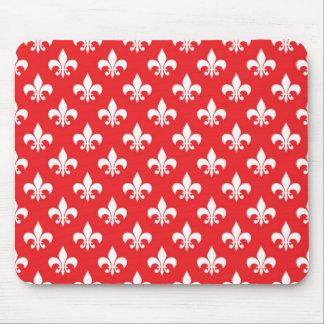Fleur-de-lis pattern on Red Mousepads