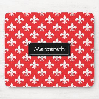 Fleur-de-lis pattern on Red Mouse Pad