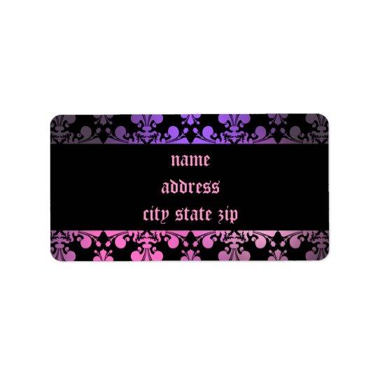 Fleur de lis pattern pink purple black label