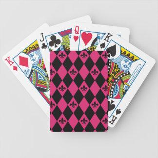 Fleur De Lis & Pink Black Diamond Pattern Bicycle Playing Cards