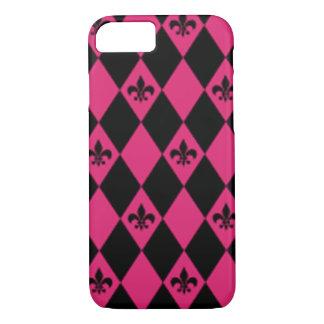 Fleur De Lis & Pink Black Diamond Pattern iPhone 8/7 Case