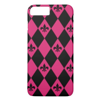 Fleur De Lis & Pink Black Diamond Pattern iPhone 8 Plus/7 Plus Case