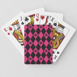 Fleur De Lis & Pink Black Diamond Pattern Playing Cards