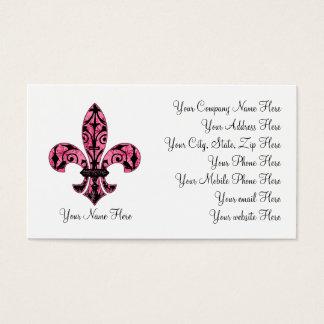 Fleur de lis Pink Business Cards 2