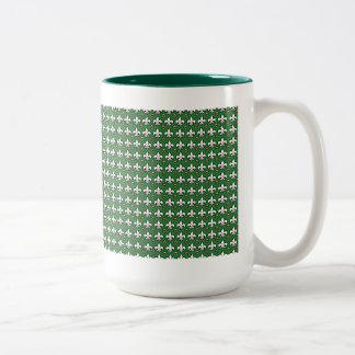 Fleur-de-lis Polka Dots Two-Tone Coffee Mug