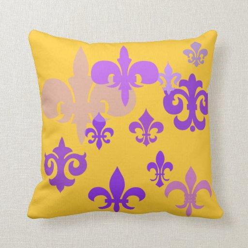Fleur de Lis Purple and Gold Pillow