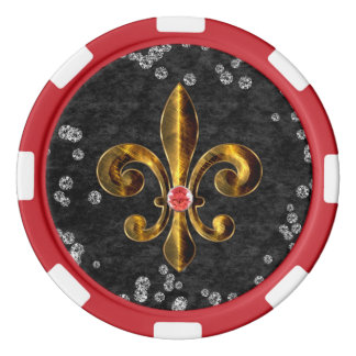 Fleur de lis red Clay Poker Chip Red Striped Edge