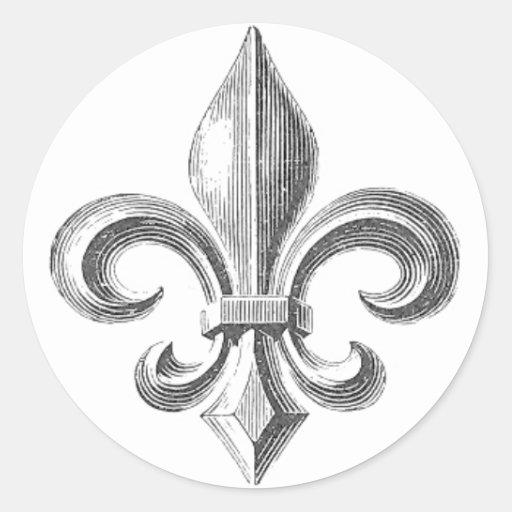 Fleur de Lis Round Sticker