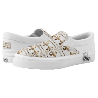 fleur de lis royal golden  pattern. Slip-On shoes