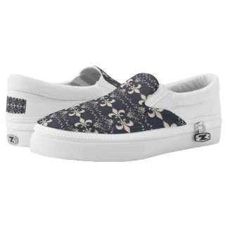 fleur de lis royal navy pattern. Slip-On shoes