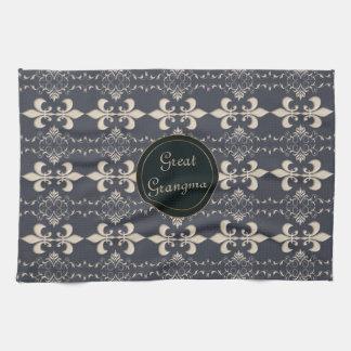 Fleur de Lis, royal seamles pattern. text. Tea Towel