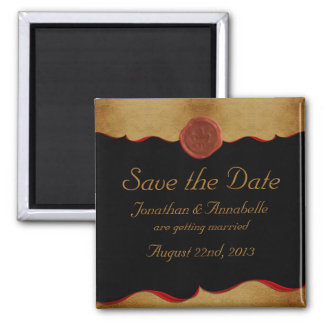 Fleur de Lis Scroll Save The Date Custom Square Magnet