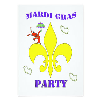 Fleur de Lis Second Line Crawfish Mardi Gras Party 5x7 Paper Invitation Card