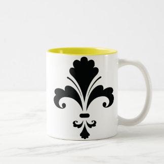 Fleur de lis Silhouette; yellow Two-Tone Coffee Mug