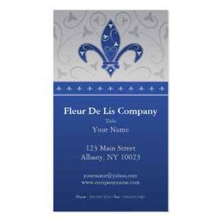 Fleur de Lis Silver & Blue Pack Of Standard Business Cards