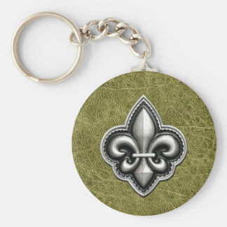 Fleur de Lis Silver on Green Leather Look Key Ring