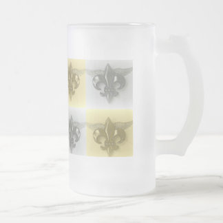 FLEUR DE LIS, SOFT GOLD AND SILVER PRINT - FROSTED GLASS BEER MUG