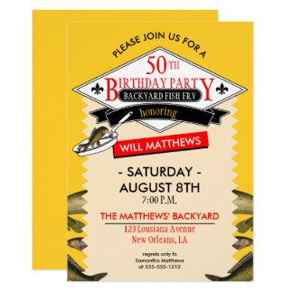 Fleur de Lis Spoof Fish Fry 50th Birthday 13 Cm X 18 Cm Invitation Card