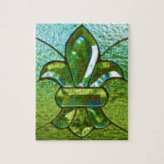 Fleur De Lis Stained Glass Green Jigsaw Puzzle