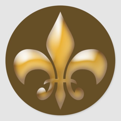 Fleur de Lis Stickers in Brown and Gold