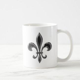 Fleur De Lis - Stripey Basic White Mug