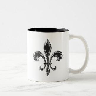 Fleur De Lis - Stripey Two-Tone Coffee Mug