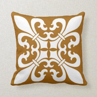 Fleur de lis Symbols in White on Caramel Cushion