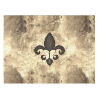 Fleur-de-Lis Table | Sepia Tan Brown Butterfly Tablecloth