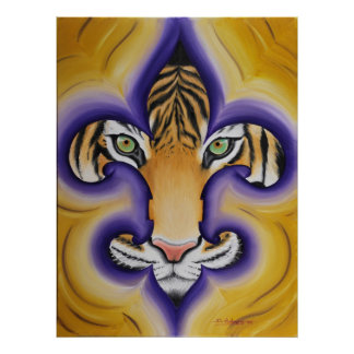 Fleur de lis Tiger Poster
