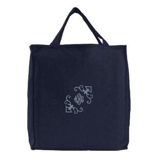 Fleur De Lis tote Monogram Embroidered Bags