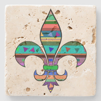 Fleur de Lis Travertine Coaster Stone Beverage Coaster