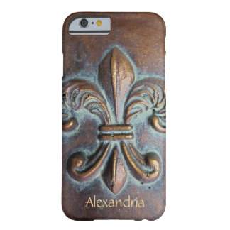 Fleur De Lis, Vintage Aged Copper-Look Printed Barely There iPhone 6 Case