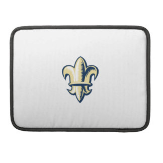 Fleur de lis Woodcut Sleeve For MacBooks