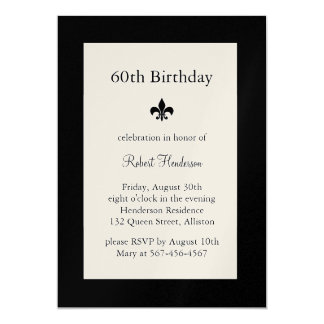 Fleur de Lise Birthday Invitation on champagne