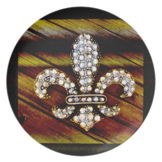 Fleur De Liz Flor Sparkle Jewel Vintage Rustic Plate
