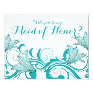 Fleur de Lyrica Will You Be My Maid of Honor? teal 11 Cm X 14 Cm Invitation Card