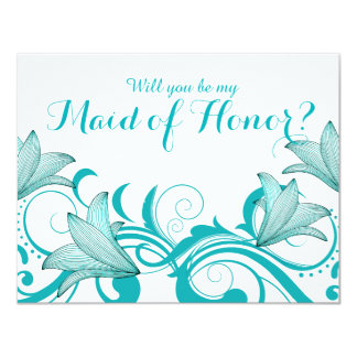 Fleur de Lyrica Will You Be My Maid of Honor? teal Card
