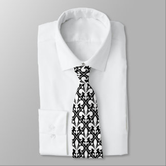 Fleur de Lys Black and White Elegant Tie