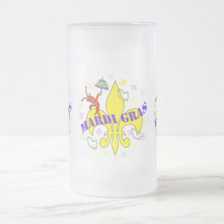 Fleur de Lys Crawfish Mardi Gras Frosted Glass Mug