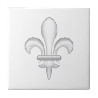 Fleur-de-lys light grey small square tile