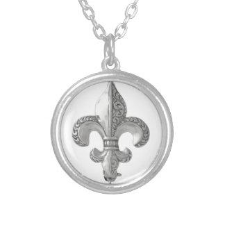 Fleur-De-Lys Silver Plated Necklace