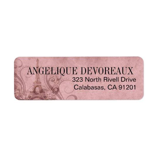 Fleur de Paris Eiffel Tower | pink Return Address Label