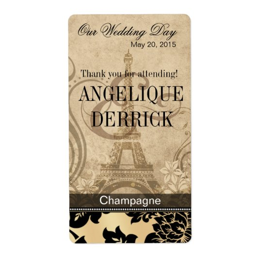 Fleur de Paris Eiffel Tower | sand Wine Label