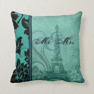 Fleur de Paris | teal Mr. & Mrs. Cushion
